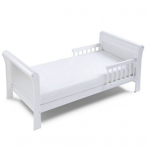 4Baby Sleigh Junior / Toddler Bed With Sprung Mattress - White